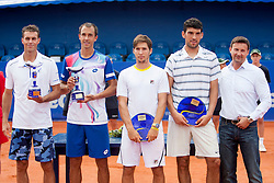 Frantisek Cermak and Lukas Rosol of Czech Republic, Dusan Lajovic of Serbia and Franko Skugor of Croatia and Vanja Bozickovic, tournament director during flower ceremony after final of doubles at 25th Vegeta Croatia Open Umag, on July 27, 2014, in Stella Maris, Umag, Croatia. Photo by Urban Urbanc / Sportida