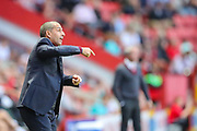 Nottingham Forest manager Sabri Lamouchi  instructs his team during the EFL Sky Bet Championship match between Charlton Athletic and Nottingham Forest at The Valley, London, England on 21 August 2019.
