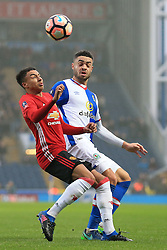 19th February 2017 - FA Cup - 5th Round - Blackburn Rovers v Manchester United - Jesse Lingard of Man Utd battles with Derrick Williams of Blackburn - Photo: Simon Stacpoole / Offside.