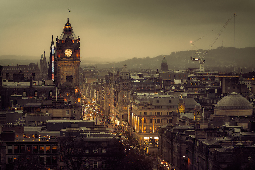 The Balmoral Hotel and Princes Street from Calton hill, Edinburgh