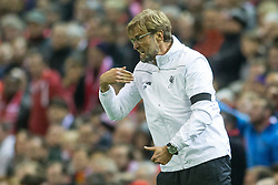 14.04.2016, Anfield Road, Liverpool, ENG, UEFA EL, FC Liverpool vs Borussia Dortmund, Viertelfinale, Rueckspiel, im Bild Trainer Juergen Klopp (FC Liverpool) // during the UEFA Europa League Quaterfinal, 2nd Leg match between FC Liverpool vs Borussia Dortmund at the Anfield Road in Liverpool, Great Britain on 2016/04/14. EXPA Pictures &copy; 2016, PhotoCredit: EXPA/ Eibner-Pressefoto/ Schueler<br /> <br /> *****ATTENTION - OUT of GER*****