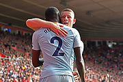 Goal - Ross Barkley (8) of Chelsea celebrates scoring a goal to give a 0-2 lead to the away team with Antonio Rudiger (2) of Chelsea during the Premier League match between Southampton and Chelsea at the St Mary's Stadium, Southampton, England on 7 October 2018.