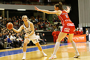 Julie Vanloo of Lyon and Kim Gaucher-Smith of Mondeville during the Women's French Championship Basketball match between Lyon Asvel Feminin and USO Mondeville on January 26, 2018 at Palais des Sports de Gerland in Lyon, France - Photo Romain Biard / ISports / ProSportsImages / DPPI