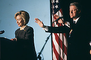 First Lady Hillary Rodham Clinton introduces President Clinton in 1999...Photograph by Dennis Brack bb30