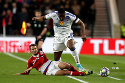 Victor Anichebe of Sunderland is tackled by Christian Stuani of Middlesbrough - Mandatory by-line: Robbie Stephenson/JMP - 26/04/2017 - FOOTBALL - Riverside Stadium - Middlesbrough, England - Middlesbrough v Sunderland - Premier League