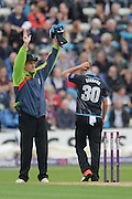 Rob Bailey signals a 6 off the bowling of Ed Barnard during the NatWest T20 Blast Quarter Final match between Worcestershire County Cricket Club and Hampshire County Cricket Club at New Road, Worcester, United Kingdom on 14 August 2015. Photo by David Vokes.
