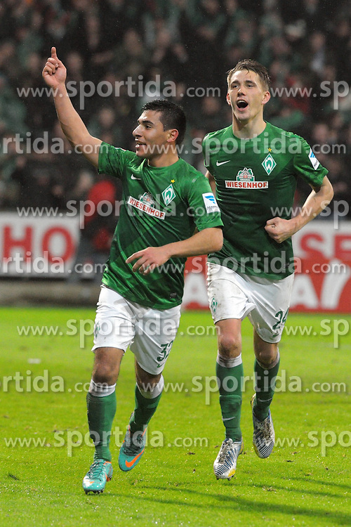 01.02.2013, Weserstadion, Bremen, GER, 1. FBL, SV Werder Bremen vs Hannover 96, 20. Runde, im Bild Rechts jubelt Nils PETERSEN ( Werder Bremen ) der Torschuetze zum 2 : 0, links jubelt Oezkan YILDIRIM ( Werder Bremen ) der das Tor vorbereitet hat // during the German Bundesliga 20th round match between SV Werder Bremen and Hannover 96 at the Weserstadium, Bremen, Germany on 2013/02/01. EXPA Pictures © 2013, PhotoCredit: EXPA/ Eibner/ Stefan Schmidbauer..***** ATTENTION - OUT OF GER *****
