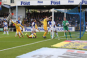 Millwall's Lee Gregory(9) shoots at goal scores a goal 0-1 during the EFL Sky Bet League 1 match between Bristol Rovers and Millwall at the Memorial Stadium, Bristol, England on 30 April 2017. Photo by Shane Healey.