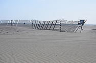 Patterns in the sand and a lifeguard station in the distance. Santa Monica Beach, CA 5.6.14