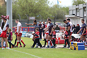 The players come out  on to the pitch prior to the Betfred Super League match between Hull Kingston Rovers and Leeds Rhinos at the Lightstream Stadium, Hull, United Kingdom on 29 April 2018. Picture by Mick Atkins.