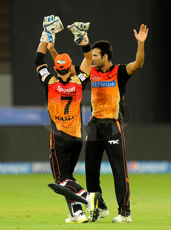 Irfan Pathan of the Sunrisers Hyderabad celebrates the wicket of Ambati Rayudu of the Mumbai Indians during match 20 of the Pepsi Indian Premier League Season 2014 between the Mumbai Indians and the Sunrisers Hyderabad held at the Dubai International Stadium, Dubai, United Arab Emirates on the 30th April 2014<br /> <br /> Photo by Pal Pillia / IPL / SPORTZPICS