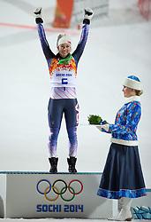 21.02.2014, Rosa Khutor Alpine Resort, Krasnaya Polyana, RUS, Sochi, 2014, Slalom, Damen, Flower Ceremonie, im Bild Olympiasiegerin Mikaela Shiffrin (USA) // olympic Champion Mikaela Shiffrin of the USA during the Flower Ceremony of ladies Slalom to the Olympic Winter Games Sochi 2014 at the Rosa Khutor Alpine Resort, Krasnaya Polyana, Russia on 2014/02/21. EXPA Pictures © 2014, PhotoCredit: EXPA/ Johann Groder