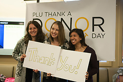 Thank a Donor Day in the Anderson University Center at PLU on Friday, Feb. 13, 2016. (Photo/ Angelo Mejia '17)