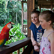 Two kids interacting with one of the Tambopata Research Center semi-wild macaws. Photographed at Tambopata Research Center Lodge (a lodge of Rainforest Expeditions) in the Tambopata National Reserve.