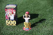 ANAHEIM, CA - MAY 21:  Closeup photo of the box and Bobble Head created for Albert Pujols #5 of the Los Angeles Angels of Anaheim on the grass at Angel Stadium before the game against the Houston Astros at Angel Stadium on Wednesday, May 21, 2014 in Anaheim, California. The Angels won the game 2-1. (Photo by Paul Spinelli/MLB Photos via Getty Images)