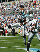CHARLOTTE, NC - NOVEMBER 7:  Safety Mike Minter #30 of the Carolina Panthers goes high to deflect a pass intended for wide receiver Jerry Porter #84 of the Oakland Raiders at Bank of America Stadium on November 7, 2004 in Charlotte, North Carolina. The Raiders defeated the Panthers 27-24. ©Paul Anthony Spinelli  *** Local Caption *** Mike Minter;Jerry Porter