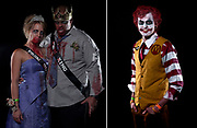 (At Left) Jessica Bartosh of Grand Rapids and Jeremy Hines of Cleveland, Ohio came dressed as Prom King and Queen Zombies as Steve Fowle of White Cloud was a combination of Ronald McDonald and the Jokerfor the Halloween Costume Contest at The B.O.B. on Saturday, October 29, 2011..Date Shot 10-29-2011.(Matt Gade | The Grand Rapids Press)