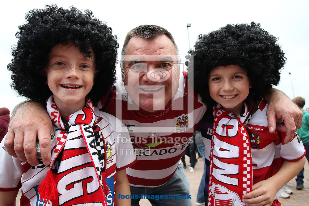 Wigan Warriors supporters prior to the First Utility Super League Grand Final against Saint Helens, at Old Trafford, Manchester.Picture by Michael Sedgwick/Focus Images Ltd +44 7900 363072<br /> 11/10/2014