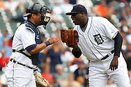 April 29, 2010:  Detroit Tigers' Gerald Laird (8) and Dontrelle Willis during the MLB baseball game between the Minnesota Twins vs Detroit Tigers at  Comerica Park in Detroit, Michigan.
