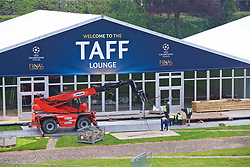 CARDIFF, WALES - Thursday, May 11, 2017: The football village being built in the grounds of Cardiff Castle ahead of the UEFA Champions League Final taking place in the National Stadium of Wales on Saturday June 3rd at 19:45. (Pic by David Rawcliffe/Propaganda)