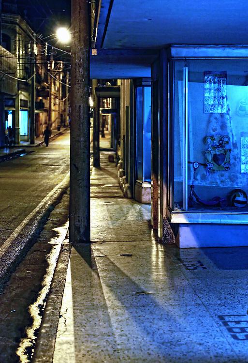 Night street in Camaguey city, Camaguey, Cuba.