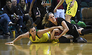 Oregon Ducks forward Erin Boley (21) and Stanford Cardinal guard Alexa Romano (22) dives for a ball in the second half of the championship game of the Pac-12 Conference women's basketball tournament Sunday, Mar. 10, 2019 in Las Vegas.  Stanford defeated Oregon 64-57. (Gerome Wright/Image of Sport)