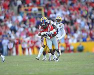 Ole Miss wide receiver Ja-Mes Logan (85) vs. LSU safety Micah Eugene (34) at Tiger Stadium in Baton Rouge, La. on Saturday, November 17, 2012. LSU won 41-35.....