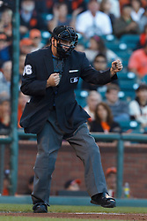 July 8, 2011; San Francisco, CA, USA;  MLB umpire David Rackley (86) calls a third strike on New York Mets right fielder Carlos Beltran (not pictured) during the first inning against the San Francisco Giants at AT&T Park.