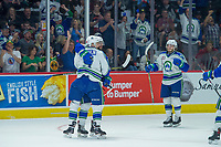 REGINA, SK - MAY 19: Giorgio Estephan #29, Artyom Minulin #5 and Kaden Elder #10 of Swift Current Broncos celebrate a goal against the Acadie-Bathurst Titan at the Brandt Centre on May 19, 2018 in Regina, Canada. (Photo by Marissa Baecker/CHL Images)