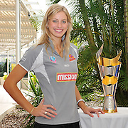 Laura Geitz poses with the ANZ Championship Trophy (21/05/11) on the eve of the ANZ Championship Grand Final - Queensland Firebirds v Northern Mystics - to be played at the Brisbane Convention Centre on Sunday 22nd May 2011 ~ Photo : Steven Hight (AURA Images) / Photosport