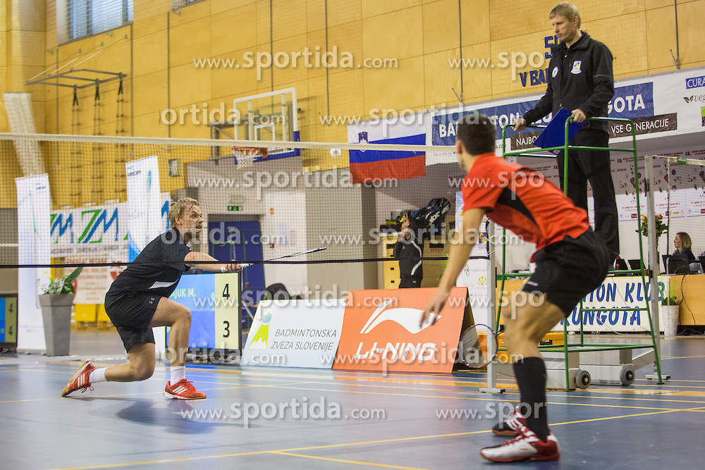 Matevz Bajuk (BK Mirna) during 58th Slovenian national championship in badminton on Februar 1, 2015 in Zg. Kungota, Slovenia. (Photo By Grega Valancic / Sportida)