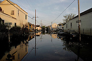 The Hurricane Katrina aftermath In New Orleans..Flooded streets of New Orleans in the morning light.