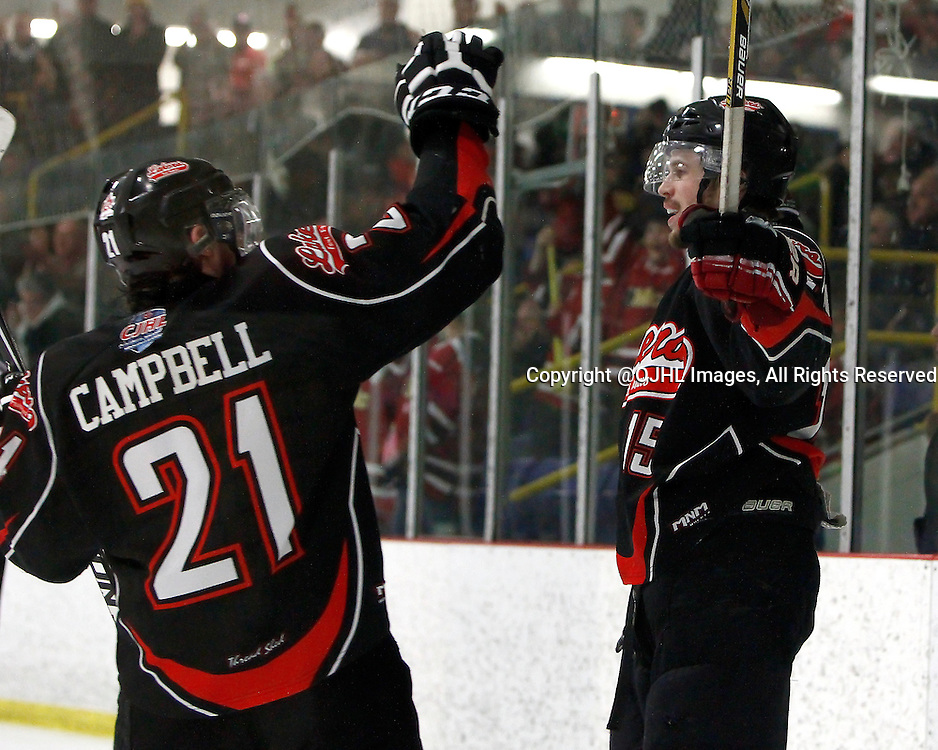 FORT FRANCES, ON - Apr 29, 2015 : Central Canadian Junior &quot;A&quot; Championship, game action between the Fort Frances Lakers and the Soo Thunderbirds, game four of the Dudley Hewitt Cup. Bowen Alcock #15 celebrates the goal in the second period.<br /> (Photo by Brian Watts / OJHL Images)