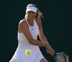 © Licensed to London News Pictures.03/07/18.<br /> London, UK: The Wimbledon Lawn Tennis Championships at All England Lawn Tennis and Croquet Club<br /> Ladies singles - first round<br /> M.Sharapova v V.Diatchenko