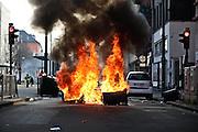 Frankfurt am Main | 18 Mar 2015<br /> <br /> Blockupy-Proteste in Frankfurt am 18.03.2015, hier: Blockade mit brennenden M&uuml;lltonnen auf der Hanauer Landstrasse.<br /> <br /> photo &copy; peter-juelich.com
