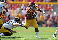 September 10, 2011: Iowa State Cyclones running back Shontrelle Johnson (21) runs out of a tackle during the first half of the game between the Iowa Hawkeyes and the Iowa State Cyclones during the Iowa Corn Growers Cy-Hawk game at Jack Trice Stadium in Ames, Iowa on Saturday, September 10, 2011. Iowa State defeated Iowa 44-41 in 3OT.