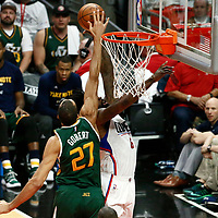 25 April 2017: LA Clippers center DeAndre Jordan (6) is blocked by Utah Jazz center Rudy Gobert (27) during the Utah Jazz 96-92 victory over the Los Angeles Clippers, during game 5 of the first round of the Western Conference playoffs, at the Staples Center, Los Angeles, California, USA.