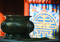 """China, Wutai Shan, 2007. A bronze incense burner in the morning light at one of Wutai's many Buddhist temples. """"Five-Terrace Mountain,"""" as it is known, is one of China's four major monastic communities.."""