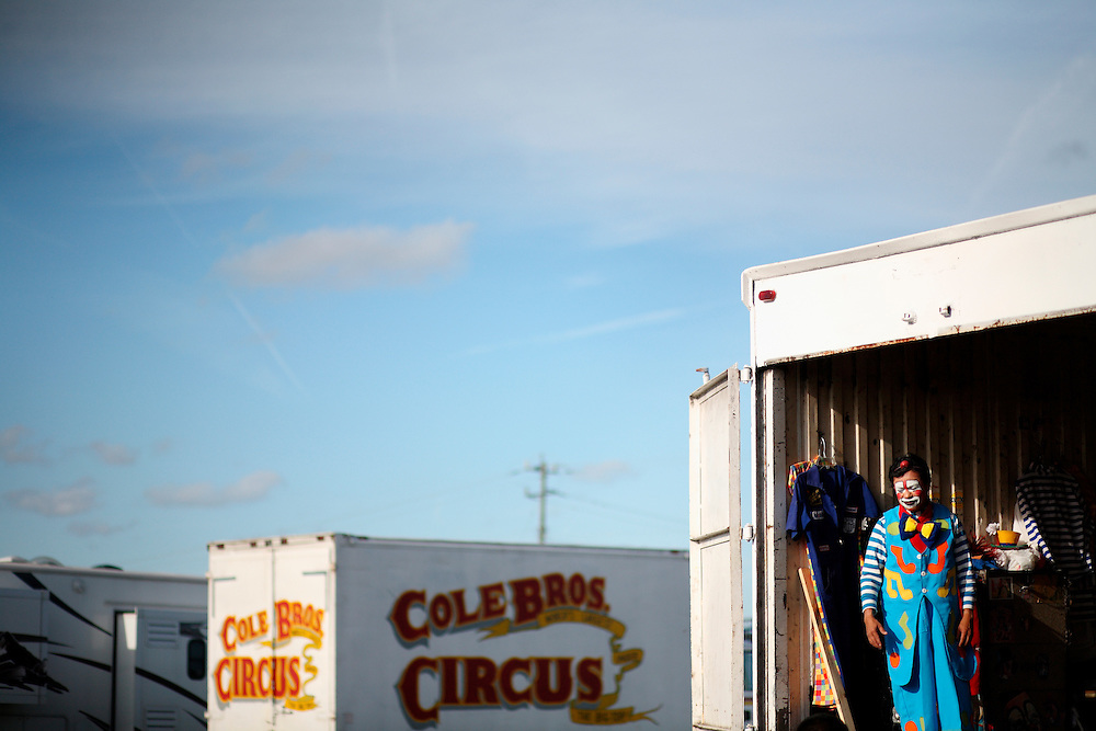 A Clown backstage at the Cole Brother Circus.