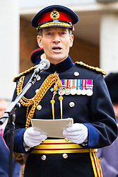 Lieutenant General Tyrone Urch addresses the gathering as the London Borough of Haringey and representatives of the Armed Forces honour Lieutenant-Colonel Sir Brett Mackay Cloutman VC MC KC with the unveiling of the final London Victoria Cross Commemorative paving stone in Hornsey, London. November 06 2018.