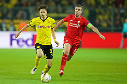 DORTMUND, GERMANY - Thursday, April 7, 2016: Liverpool's captain Jordan Henderson in action against Borussia Dortmund's Julian Weigl during the UEFA Europa League Quarter-Final 1st Leg match at Westfalenstadion. (Pic by David Rawcliffe/Propaganda)