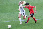 MELBOURNE, VIC - MARCH 06: Eunmi Lee (22) of Korea Republic competes with Paige Satchell (19) of New Zealand for the ball during The Cup of Nations womens soccer match between New Zealand and Korea Republic on March 06, 2019 at AAMI Park, VIC. (Photo by Speed Media/Icon Sportswire)