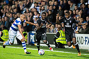 Fulham (44)Ibrahima Cisse, Fulham (3) Ryan Sessegnon, QPR (20) Alex Baptiste  during the EFL Sky Bet Championship match between Queens Park Rangers and Fulham at the Loftus Road Stadium, London, England on 29 September 2017. Photo by Sebastian Frej.