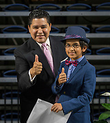 Houston ISD Superintendent Richard Carranza poses for a photograph with Yash Semlani during a Professional Leadership Series at Delmar Fieldhouse, April 5, 2017.