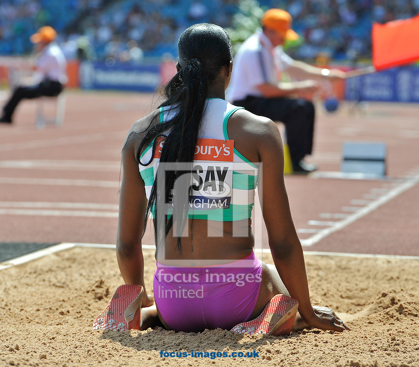Picture by Alan Stanford/Focus Images Ltd +44 7915 056117<br /> 12/07/2013<br /> Zainab Ceesay (GBR) Triple jump pictured during day two of Sainsbury's British Championship at Alexander Stadium, Birmingham.