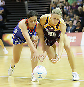 Clare McMeniman and Angelina Yates compete for the ball during round 4 of the ANZ Netball Championship - Queensland Firebirds v Northern Mystics. Played at Brisbane Convention Centre. Firebirds (46) defeated the Mystics (40).  Photo: Warren Keir(SMP/Photosport).<br /> <br /> Use information: This image is intended for Editorial use only (e.g. news or commentary, print or electronic). Any commercial or promotional use requires additional clearance.