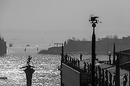 Italy. Venice. Theodore column on the Piazzetta ,  the lagoon and San Giorgio Maggiore church island, Venice - Italy  la colonne de Theodore sur la Piazzetta, la lagune et l eglise San Giorgio Maggiore,  Venise