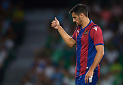 """SEVILLE, SPAIN - SEPTEMBER 25:  Jose Manuel Rodriguez """"Chema"""" of Levante UD reacts  during the La Liga match between Real Betis and Levante at Estadio Benito Villamarin on September 25, 2017 in Seville, .  (Photo by Aitor Alcalde Colomer/Getty Images)"""