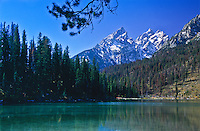 String Lake below the Cathedral Group of the Teton Range.  Grand Teton National Park, Wyoming.
