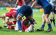Milton Keynes, Great Britain, Canada's Aaron CARPENRER touches down during the during the Pool D Game, France vs Canada.  2015 Rugby World Cup, Venue, StadiumMK, Milton Keynes, ENGLAND.  Thursday  01/10/2015<br /> Mandatory Credit; Peter Spurrier/Intersport-images]